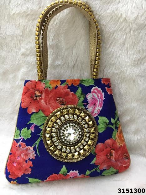 Sensational Floral Print Stone Brooch Handbag