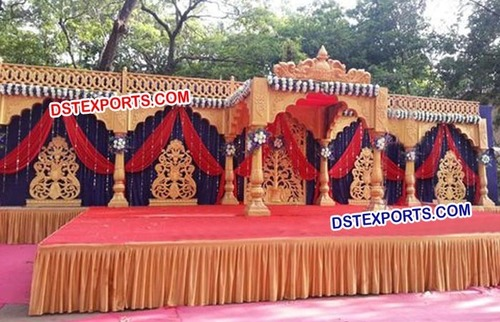 Golden Carved Flower Panels Mandap