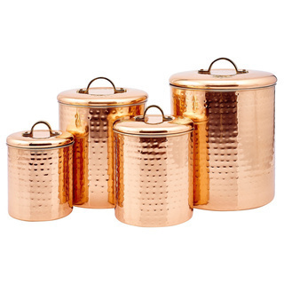 Dutch Hammered Copper Canister Set