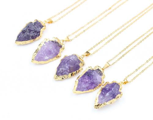 Gold Electroplated Amethyst Arrowhead Necklace