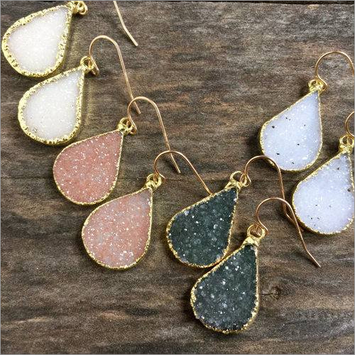 Gold Electroplated Druzy Pear Shape Gemstone Drop Earrings
