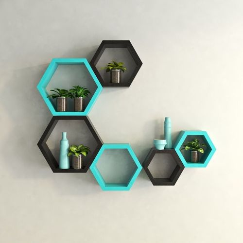 Hexagon Shape Wall Mount Shelves