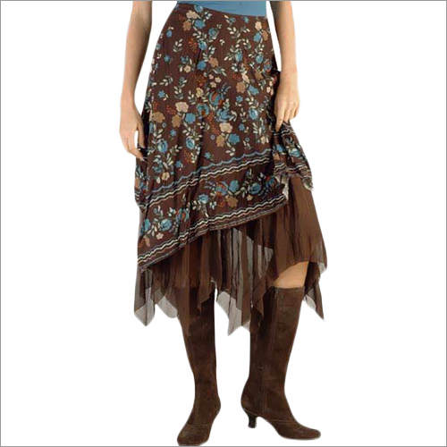 Fully embroidered asymmetrical skirt