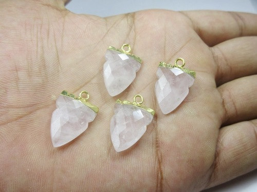 Gold Electroplated Rose Quartz Tooth Shape Pendant