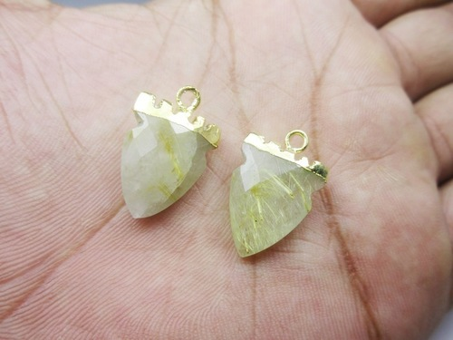 Golden Rutile Tooth Shape Pendant