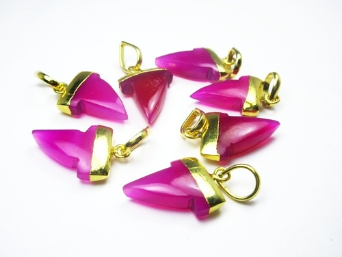Gold Electroplated Hot Pink Chalcedony Pendant