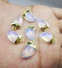 Gold Electroplated Opalite Horn Pendant