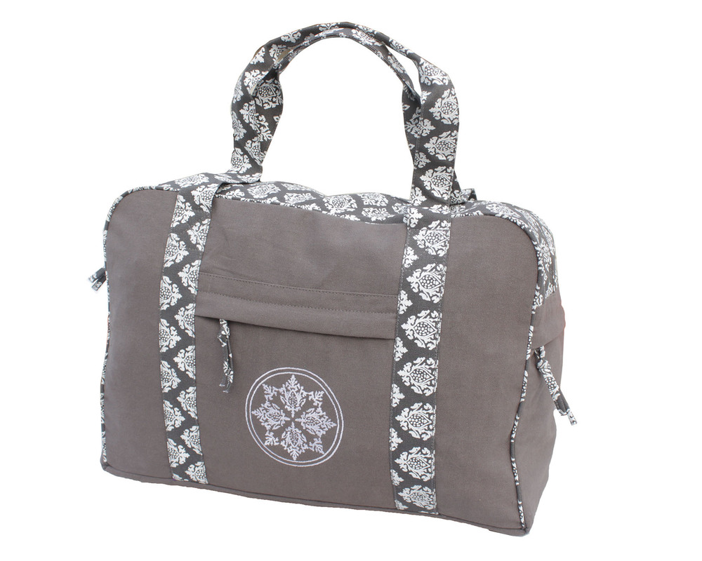Print And Embroidered  Grey Yoga Kit Bag