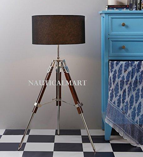 Marine Designer Tripod Floor Lamp With Black Shade Home Decor