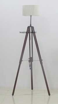 Nautical Marine Antique Tripod Search Light Floor Lamp With White Shade Home Decor