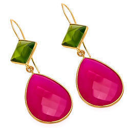Hot Pink Chalcedony Gold Plated Earring