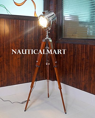 DESIGNER NAUTICAL TRIPOD FLOOR LAMP SEARCHLIGHT WITH WOOD TRIPOD STAND