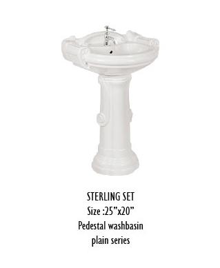 Sterling Set Pedestal Wash Basin