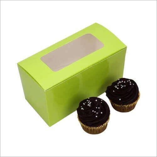 Cupcake Box - Green - Window (2 Piece)