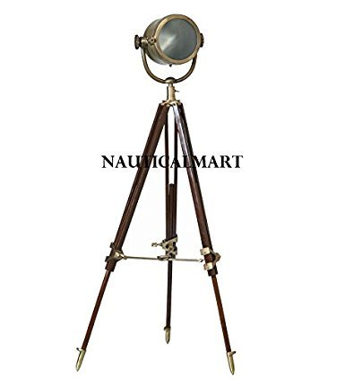 Classical Designer Tripod Floor Searchlight / Spotlight With Brass Finish Stand