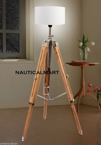 Nautical Premium Quality Teak Wooden Floor Lamp Home Decor  With Shade