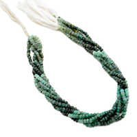 Shaded Emerald 3-4mm Faceted Beads 13 Inch Strand