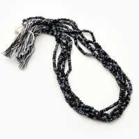 13 Inch Snowflake Obsidian 3-4mm Bead Strand