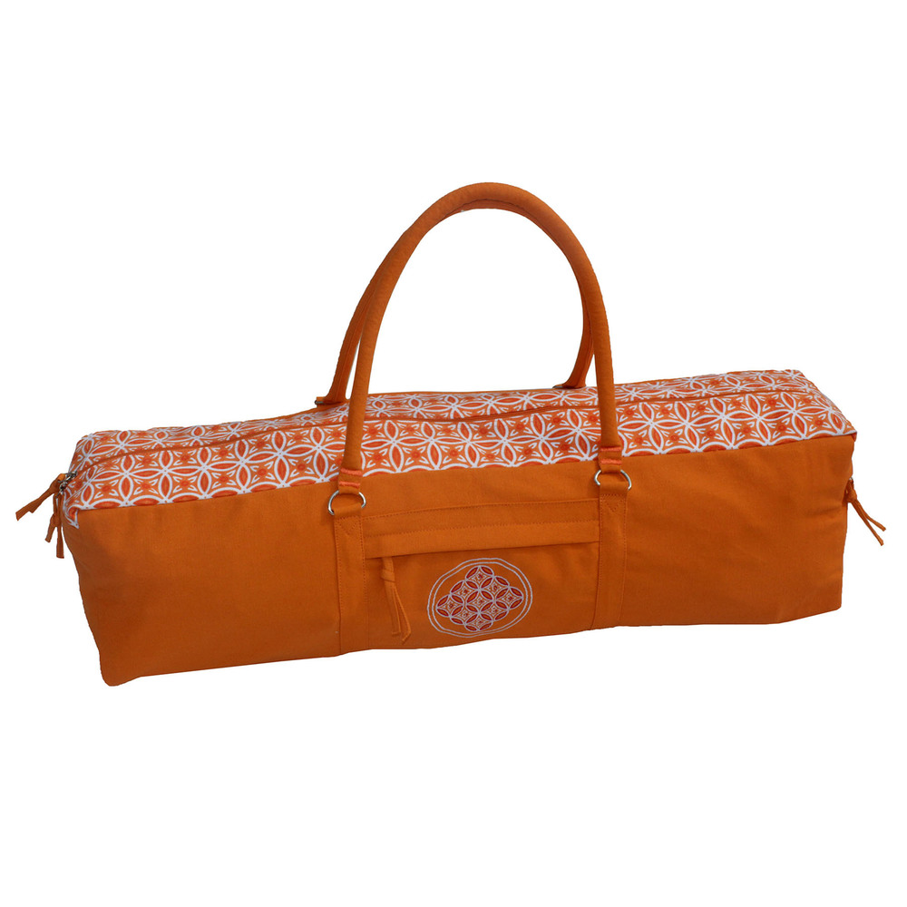 Print And Embroidered  Saffron  Yoga Kit Bag