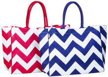 Monogrammed chevron stripe Burlap bag