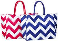 Monogrammed chevron stripe Burlap bag