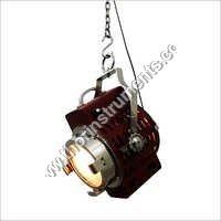 Beautiful Vintage Red Leather Pendant Lamp Decor