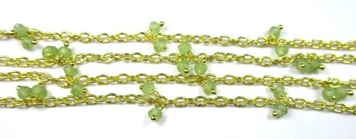 Peridot Approx 3-4mm Sterling Silver Gold Plated Cluster Chain