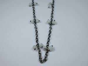 Rainbow Moonstone Cluster Chain with Oxidized Plating