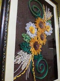 Handmade Yellow Green Quilling Scenery
