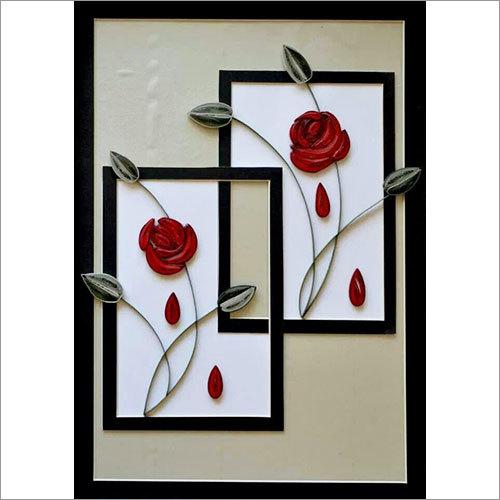 Handmade Roses Design Quilling Scenery