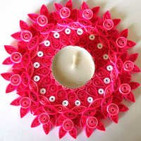 Handmade Decorative Pink Candle Quilling Stand