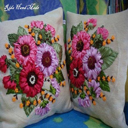 Handmade Ribbon Embroidry Pillow Cover