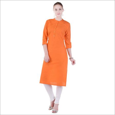 Cotton Plain Orange Kurti