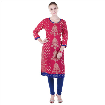 Cotton Embroidered Red Kurti