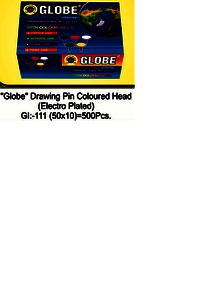 Globe Colored Head Drawing Pin