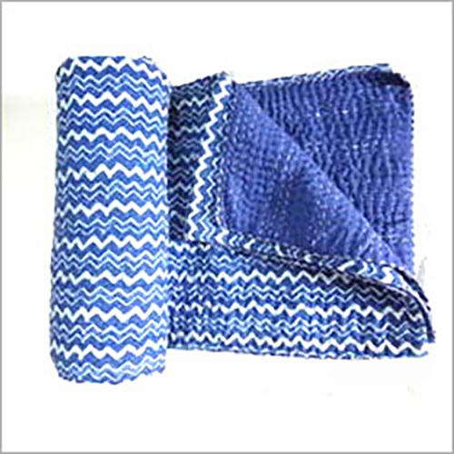 Vintage Kantha Quilt INDIGO BLUE BLOCK PRINTED