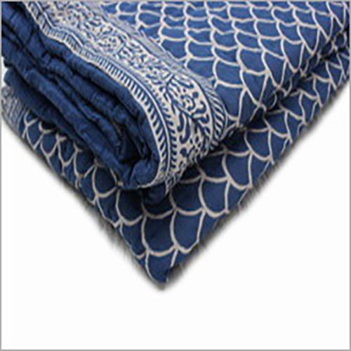 Jaipuri Kantha Quilts INDIGO BLUE HAND BLOCK PRINTED QUILT