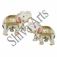 Golden Marble Elephants