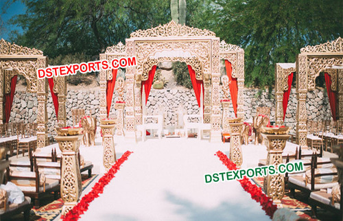 Outdoor Wedding Carved Jodha Akbar Mandap