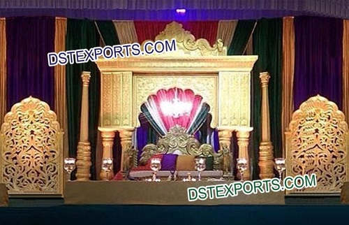 Indian Wedding Golden Fiber Stage Decors