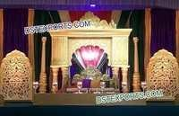 Indian Wedding Golden Fiber Stage Decors