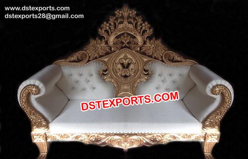Royal Wedding Golden Carved Stage Sofa