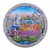 Seated Radha Krishna Marble Plate