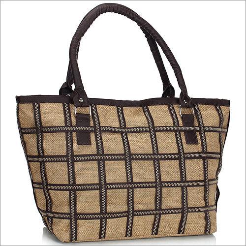 Checkered Jute Tote Bag
