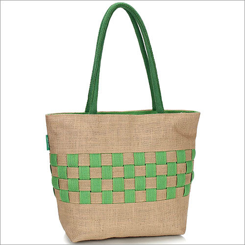 Checkered and Puckered Jute Handbag