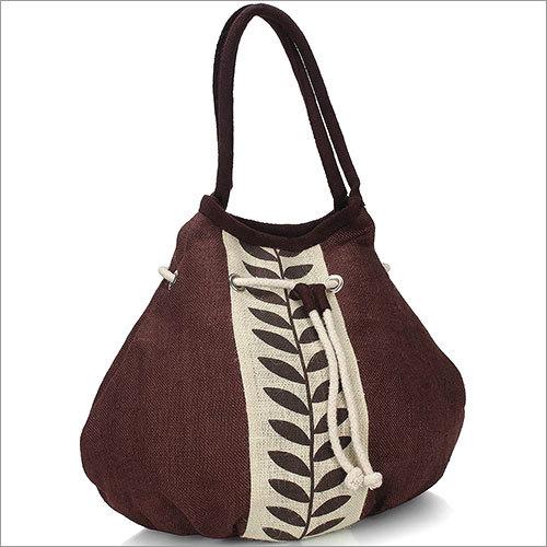 Brown Leaf Jute Handbag