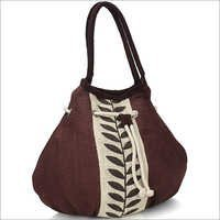 Brown Leaf Jute Handbag