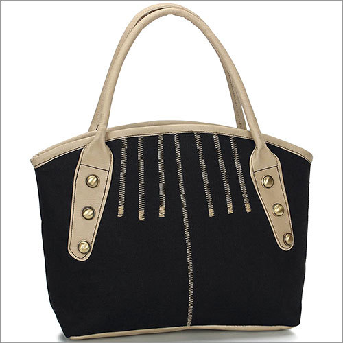 Blackn Beige Jute Handbag