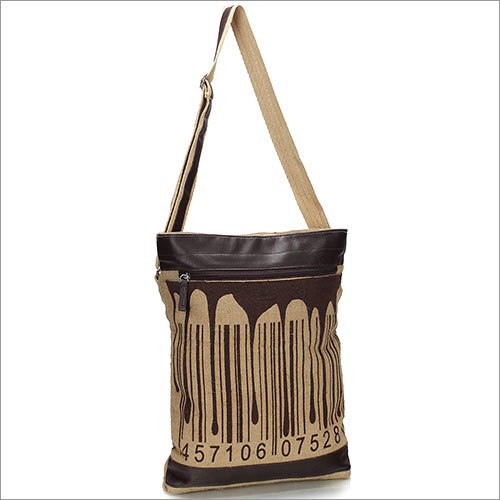 Barcode Splash Jute Sling Bag