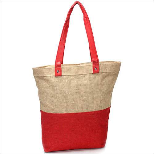 Red Jute Natural Tote Bag